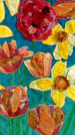 'Bright Flowers' handmade wall hangning (detail)