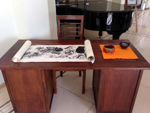 Japanese Scroll Painting on Table
