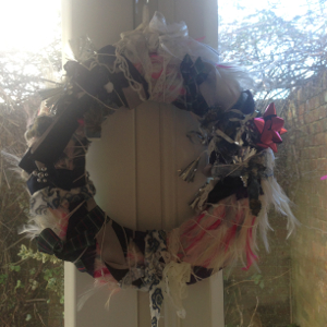feather and fabric wreath