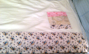 cream fleece and floral cotton throw