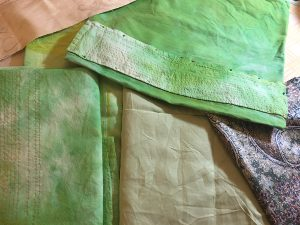 Dyed green and patterned fabrics
