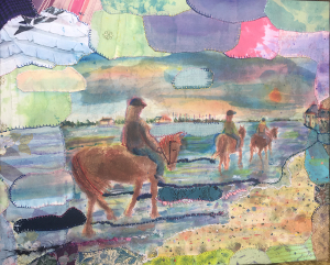 Horses Bosham rainbow handmade textile art sky