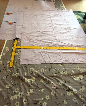 cutting out fabric rectangles