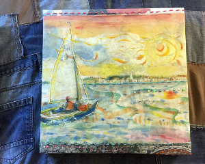 Dinghy Sailors at Bosham Harbour Textile Artwork by A Howse