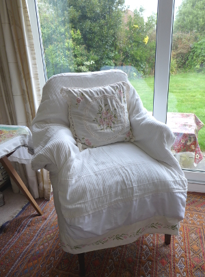 Armchair with Cream Cover and Flower Border Trim