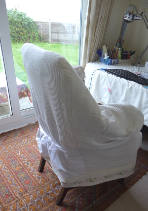 Vintage chair cover side view