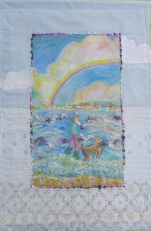 Girl with Dog and Rainbow Wall Hanging by Amanda Howse