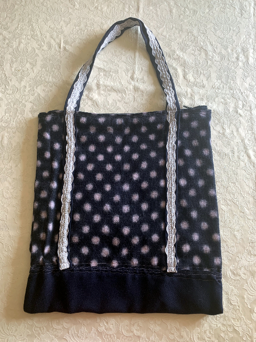back of navy spot bag