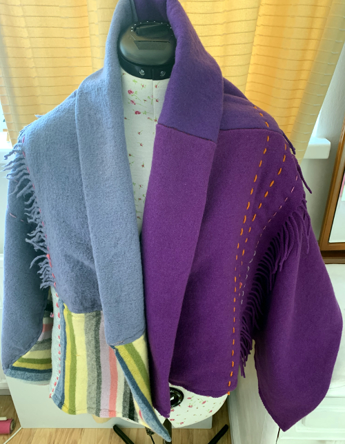 Upcycled rainbow shawl by Amanda Howse
