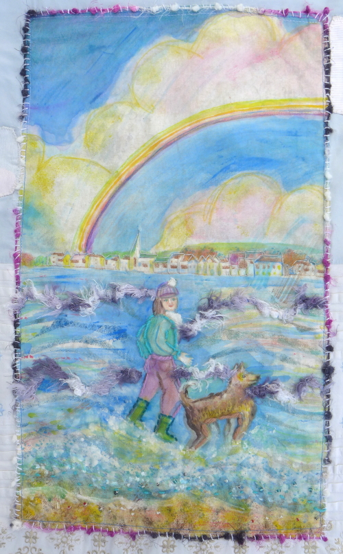 Cool girl with dog rainbow wall hanging by Amand Howse