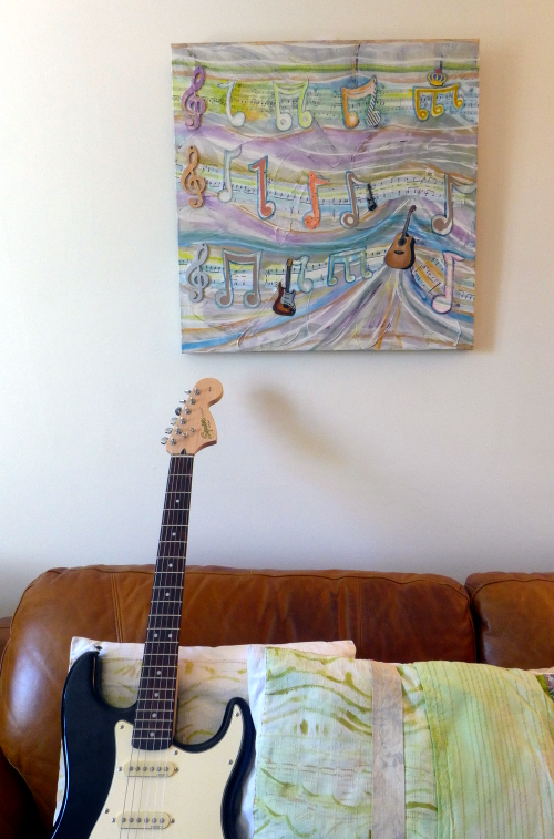 Musical guitar notes artwork with interior by A Howse