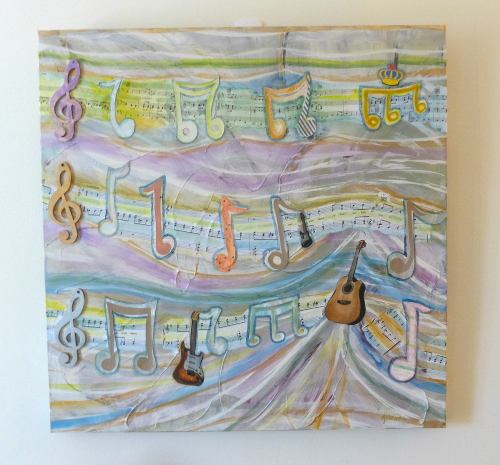 Musical guitar notes artwork by A Howse
