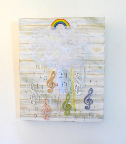 Rainbow cloud with musical notes artwork by A Howse