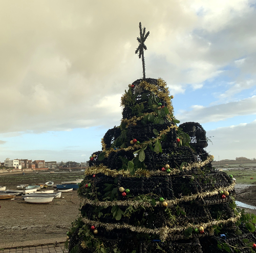Lobster pot Xmas tree, Emsworth Hampshire