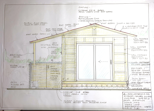 Garden Studio Elevation Drdawing by A Howse