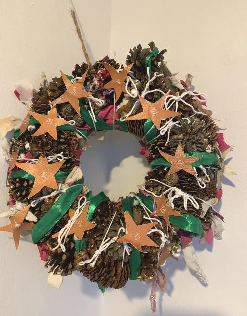 Orange stars festive wreath