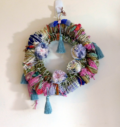 Large rainbow flower wreath by A Howse